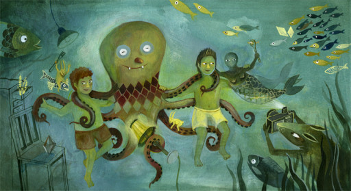 Elsa Klever Illustration Fische im Wohnzimmer